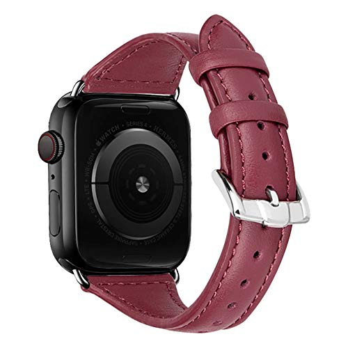 iBazal Vervangende Armbanden Voor iwatch Series 5 4 3 2 1 Armband 40mm 38mm Leer Horlogeband Vervanging Lederen Band Reserveband Reserveband Lederen Band Dames Horloge 38mm/40mm - Diamant Wijnrood