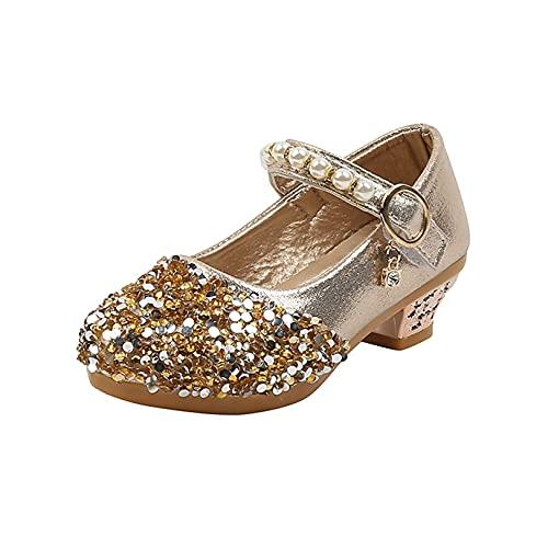 Zapatos de Princesa para niñas Transpirables Informales con Purpurina Lentejuelas Zapatos de Cuero con Perlas Zapatos de Vestir para Fiestas de Bodas para niños Danza Rendimiento