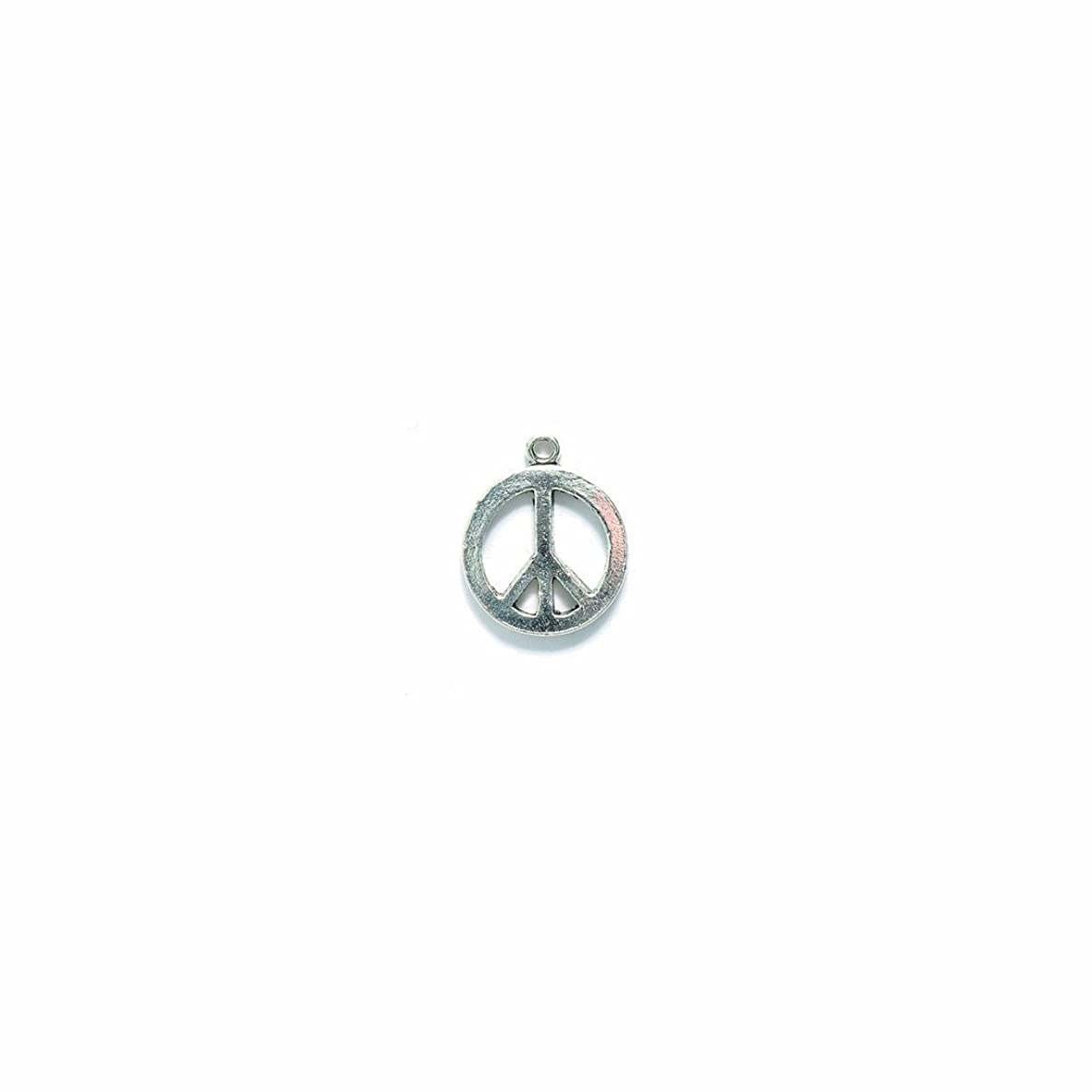 Shipwreck Beads Pewter Peace Sign Charm, Bright Silver, 15mm, 4-Pack