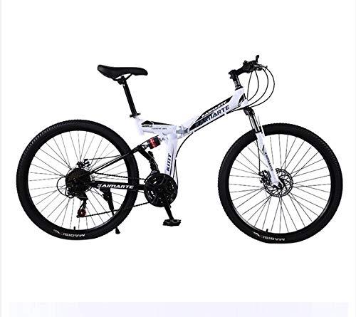Dafang Mini Bicicleta Plegable Ligera de 24 Pulgadas pequeña Bicicleta de montaña portátil Bicicleta de Carretera Bicicleta de 24 velocidades Estudiante Adulto-Blanco