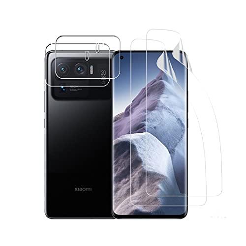 Effcotuo Schutzfolie Kompatibel Mit Xiaomi Mi 11 Ultra 2 Stück Schutzfolie TPU & 2 Stück Mi 11 Ultra Kamera Panzerglas Bildschirmschutzfolie Fingerabdruck-ID unterstützen Blasenfreie Klar HD Folie