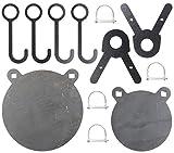 FULLBOW AR500 Gong Target and Steel Target Hangers Combo Pack - DIY Target Kit for 1 Inch OD EMT Conduit - 6 and 8 Inches AR500 Steel Targets for Each, 4 Target Hang Hooks and 2 Leg Brackets