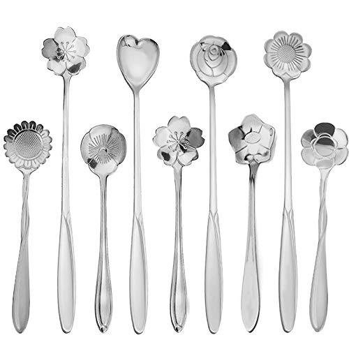 PBIEHSR Flower Spoon Coffee Teaspoon Set Stainless Steel Tea Spoon Two Different Lengths Dessert Scoop for Stirring Drink Mixing Milkshake Jam Set of 9 Silver