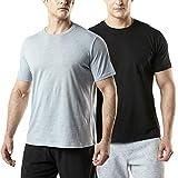 (テスラ)TESLA 半袖 Tシャツ ドライ スポーツシャツ 2枚セット メンズ [UVカット・吸汗速乾] ランニング フィットネス トレーニング 綿 カットソー MTS52-KGY_L