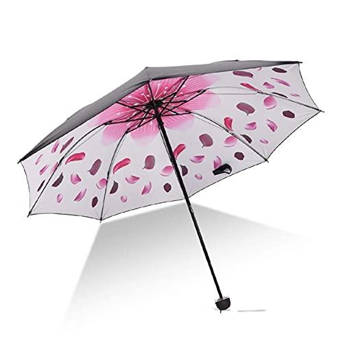 QFUNDAS Anti-UV Paraguas para Mujer B17, Ligero y Elegante, Color Azul Paraguas Transparente, Apertura Automática, Paraguas Transparente Damas, 8 Barras, Cortaviento