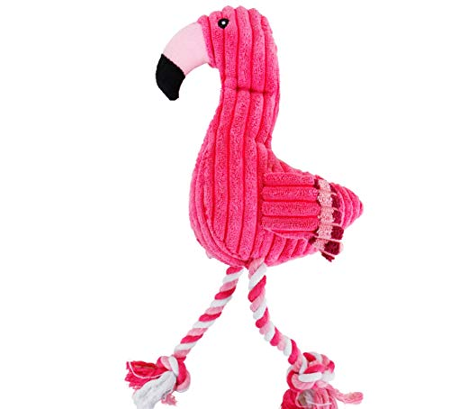 ONEMEW Dog Plush Toys,Cute Flamingo Durable Squeaky Teething Toys for Puppy, Interactive Stuffed Dog Chew Toys for Small-Large Dogs