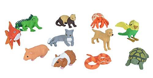Wild Republic Pets Figurines Tube, Turtle, Guinea Pig, Snake, Hamster, Hermit Crab, Yellow Lab, Ferret, Iguana, Rabbit, Parakeet, Gold Fish, Grey Cat (20821)