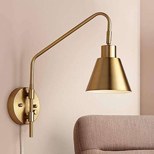 Marybel Antique Brass Downlight Plug-in Swing Arm Wall Lamp - 360 Lighting