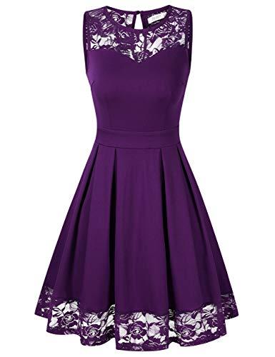 KOJOOIN Damen Elegant Spitzenkleid Cocktailkleid Brautjungfernkleider für Hochzeit Abendkleider Ärmellos Grape XL