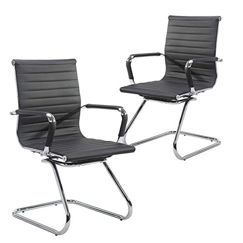 Wahson Ribbed Leather Office Guest Chair