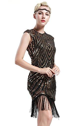 BABEYOND Damen Kleid voller Pailletten 20er Stil Runder Ausschnitt Inspiriert von Great Gatsby Kostüm Kleid (S (Fits 68-78 cm Waist & 86-96 cm Hips), Gold und Schwarz)