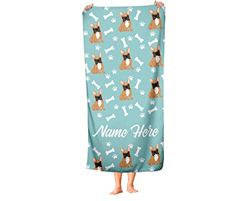 Personalized Brown French Bulldog Pattern Beach and Bath Towels - Large and Medium Sizes - Custom Towel Travel Pool and Indoor Use Towels for Adults Kids Frenchie