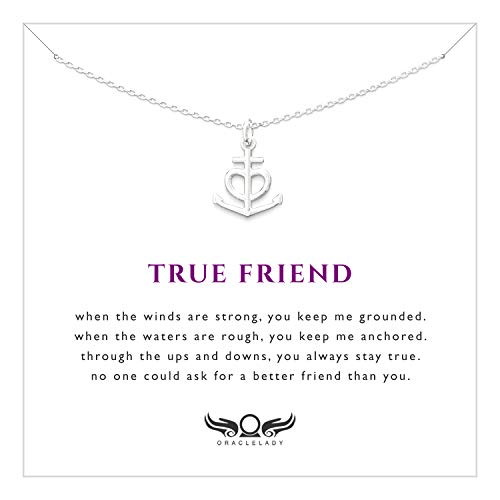 Friendship Anchor Sterling Silver Necklace - Unique Best Friend Jewelry Gift for Birthday Nautical Spiritual Christian