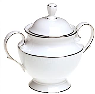 Lenox Tribeca Platinum-Banded Bone China Lidded Sugar Bowl