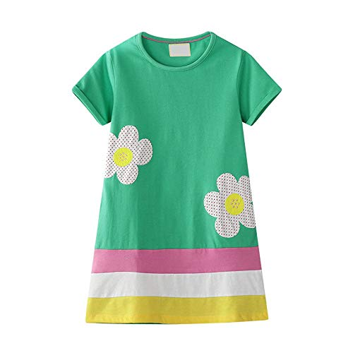 Eendelige kinderjurk klein meisje zonbloem applicatie strepen lente zomer casual katoenen jurk baby meisjes korte mouw losse blouse hemd jurk prinses nachthemd nachthemd