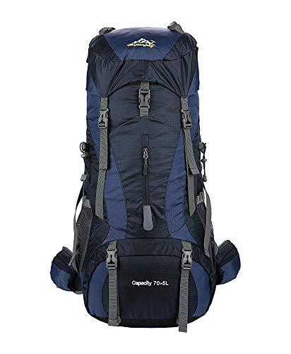 XFentech Macutos de Senderismo al Aire Libre - Mochila Impermeable de Senderismo con Cubierta de Lluvia Excursiones Viaje Camping Trekking, Profundo Azul, 80L