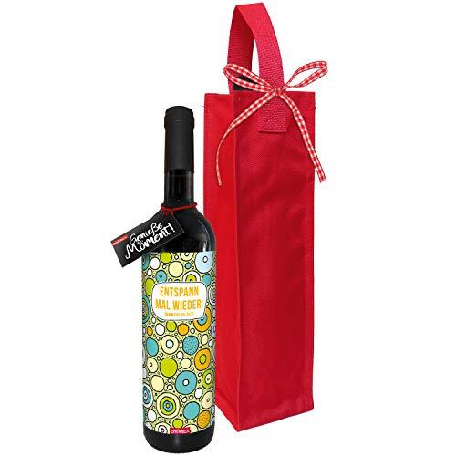 STEINBECK Wein Entspann mal wieder Geschenk Entspannungshilfe trockener Rotwein aus Spanien 100% Tempranillo Valdepenas mit Flaschentasche Mitbringsel Essen Geburtstag Stress Ruhe Auszeit