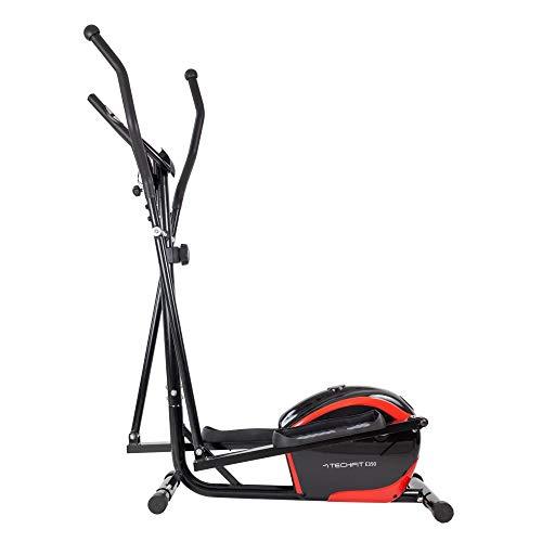 TechFit E350 - Cyclette da fitness a casa con computer, volano 7,5 kg, 8 livelli di difficoltà, Cross Trainer Nero e Rosso