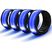 TABIGER LED Armband, 4-Pack Glow Bracelet Safety Light-Up Sports Wristband Ankle Reflective Strips with LED Flashing Lights for Running, Jogging, Outdoor Exercise & Activities, Dog Walking at Night