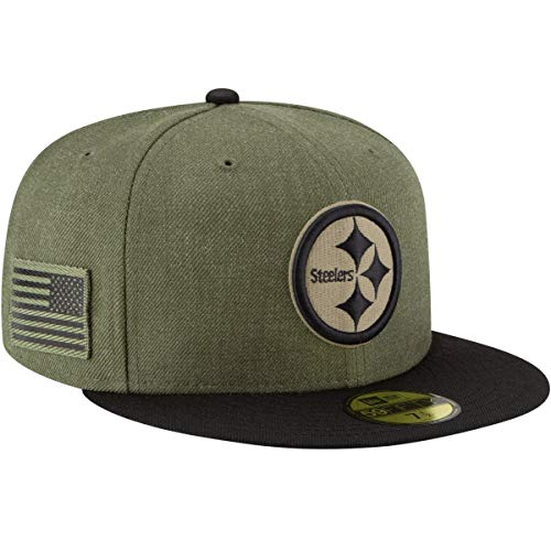 New Era Pittsburgh Steelers On Field 18 Salute to Service Cap 59fifty 5950 Fitted Limited Edition, Green, 7 5/8 - 61cm (XL)