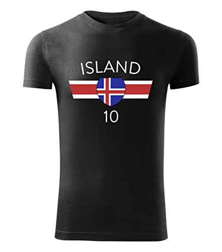 Fußball Trikot T-Shirt EM 2016 alle Länder Deutschland Frankreich Island Wales - Island (Schwarz, XXL)