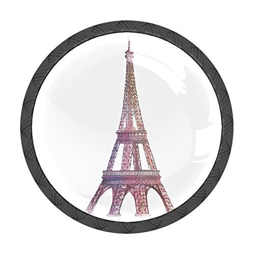 Juego de 4 pomos para cajones y cajones de la Torre Eiffel, tiradores de cajones y tiradores de cristal, redondos, para armarios, cocina, aparador, etc