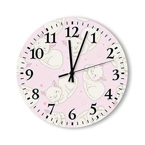 Reloj de pared de madera de 30,48 cm, funciona con pilas, bonito reloj de pared para mascotas, ideal para el hogar, sala de estar, cocina, dormitorio, oficina, escuela, hotel