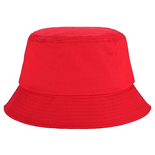 Umeepar Fischerhut Sonnenhut Sommerhut Hut for Damen Herren (Schlicht rot)