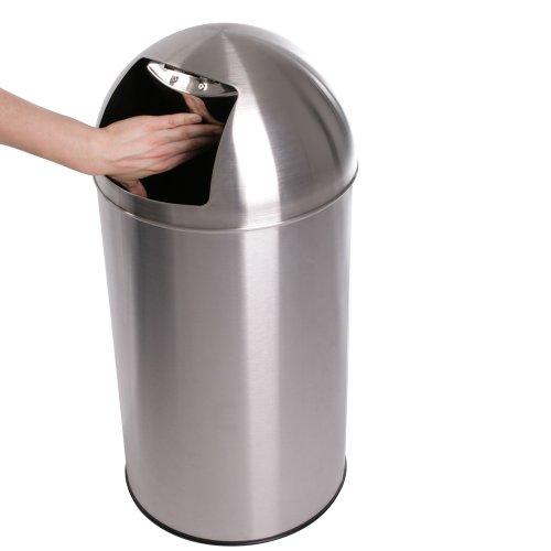 Jago® Push Mülleimer - mit Deckel, 50L Volumen, Edelstahl, Push Klappe poliert, rutschfest, Silber - Retro Abfalleimer, Abfallsammler, Müllbehälter, Müllsammler, Abfallbehälter für Büro, Küche, Bad