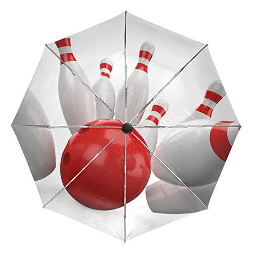 Kleiner Regenschirm Winddicht im Freien Regen Sonne UV Auto Compact 3-Fach Regenschirm Abdeckung - Classic Bowl Sport Bowling Ball Spiel