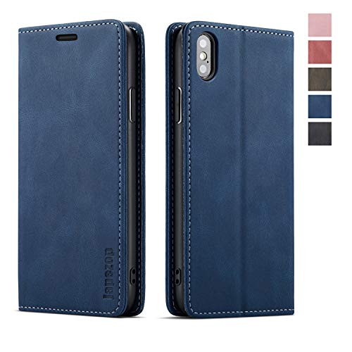 japezop iPhone Xs iPhone X Wallet Case with Card Holder RFID Blocking, Premium PU Leather Wallet Case with Magnetic Kickstand and Flip Cover for iPhone X (2017) / Xs (2018) 5.8 inch (Blue)