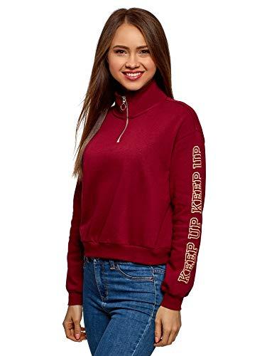 oodji Ultra Damen Kurzes Sweatshirt mit Stehkragen, Rot, DE 38 / EU 40 / M