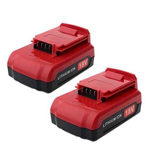 Biswaye 2 Pack 18V Lithium Battery PC18BLX Replacement for Porter Cable 18V Battery PC18BL PC18BLEX PC18B PC18B-2 PCC489N PCXMVC 18-Volt Cordless Power Tools PC1800D