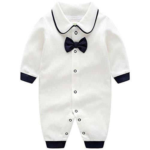 JiAmy Bébé Combinaison Filles Garçons Coton Barboteuse à Manches Longues Pyjama Gentilhomme Tenues 3-6 Mois,Blanc