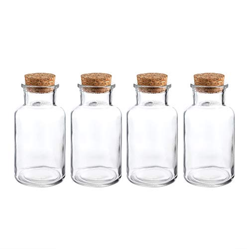 Glass Favor Jar, Glass Storage Jars with Corks for Wedding and Party (9 Ounce)