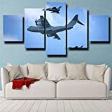 45Tdfc 5 Morceaux De Toile Tableau Chasseurs D'Avions Militaires Typhoon Airbus A400M Luftwaffe Murale Decoration Impression sur Toile Intissee Impression sur Toile Salon 5 Parties - Prêt À Accrocher