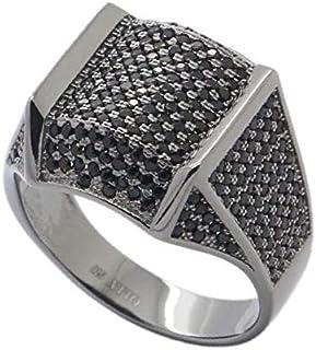 Atiq Womens 925 Sterling Silver Black Rhodium Plated - RB1258-BK-11, Color Black, Size 11