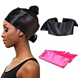 2 Pieces Stain Edge Laying Scarf Wrap For Lace Front Wigs,56 X 4 Inches Soft And Comfort Headband for Women Makeup,Facial,Sport (Black&Pink Color)