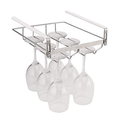 LYGAC Edelstahl Weinglas Rack, Stemware Halter mit Schrauben Lagerung unter dem Schrank Chrom Wandhalterung Weinregal, für Home/Bar/Club(35cm)
