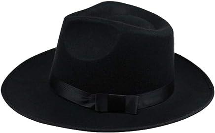 e2f4b9fd4543 Fashion Vintage Men Women Hard Felt Hat Wide Brim Bowknot Fedora Trilby  Panama Hat