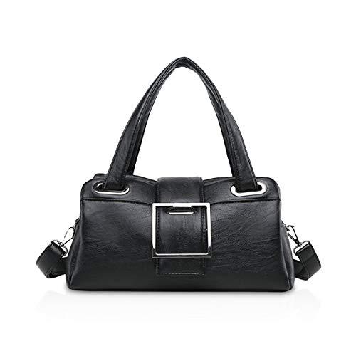 NICOLE & DORIS Damen Handtaschen für Damen Mode Umhängetasche Handtasche Schultertasche Frauen Retro Handtasche PU Leder Schwarz
