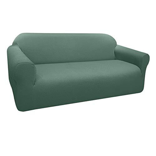 Granbest Funda de Sofá Elástica Súper Gruesa con Diseño Elegante Universal Funda Sofá 3 Plaza Antideslizante Protector Cubierta de Muebles(3 Plaza, Verde Matcha)