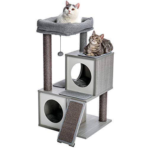 PAWZ Road Cat Tree Luxury Cat Tower with Double Condos Spacious Perch Fully Wrapped Scratching Sisal Posts and Replaceable Dangling Balls Wooden Grey