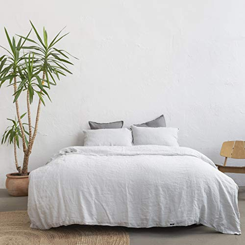 savastextile Linen Grey Super King Size Duvet - French Bed Linen Set - French Linen Bedding & Linen Fabric - Bed Sheets - Deep Sleep Washed Linen Duvet Cover Sets - Linen Pillowcases x 2