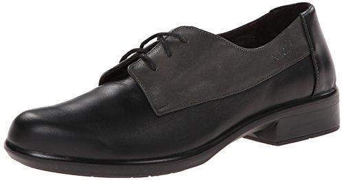 NAOT Footwear Women's Kedma Lace Up Shoe Black Lthr/Gray Combo 11 M US