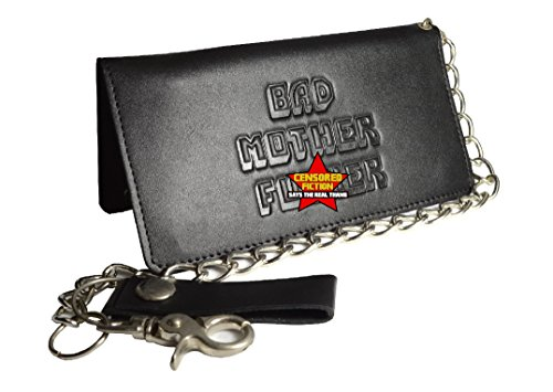 BMF Leather Biker Wallet with Chain New Tough Black Leather Version