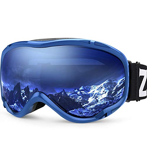 ZIONOR Lagopus Ski Snowboard Goggles UV Protection Anti Fog Snow Goggles for Men Women Adult Youth VLT 60% Blue Frame Clear Blue Lens