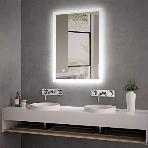Badspiegel Lichtspiegel 50 x 70 cm LED Spiegel Wandspiegel mit Beleuchtung kaltweiß Lichtspiegel mit Touchschalter IP44 energiesparend