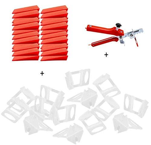 SSPECOTNR 201 Stück Fliesen Nivelliersystem Universal mit 100 Zuglaschen 100 Rote Keile Ein Keile Zange für Fliesenverlegung Fliesenverlegesystem Verlegesystem Verlegehilfe Fliesenverlegehilfe Set