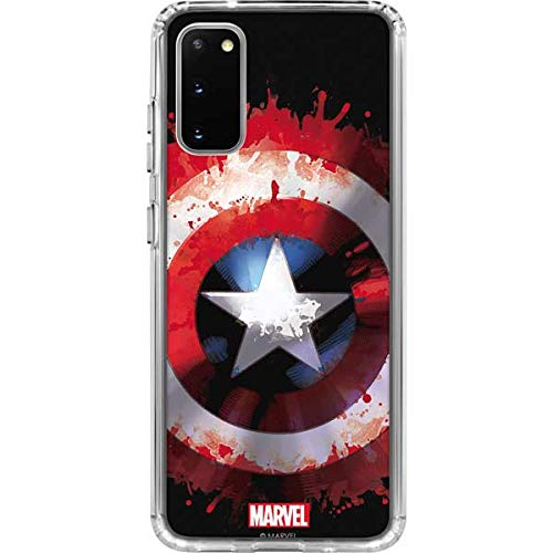 Skinit Clear Phone Case Compatible with Galaxy S20 - Officially Licensed Marvel/Disney Captain America Shield Design